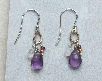 Amethyst Earrings, Garnet Earrings, Moonstone Earrings, Mixed Gemstone Earrings, Gemstone Cluster Earrings, Sterling Silver Mixed Gemstones