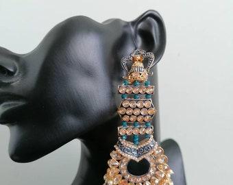 blue stones muslim wedding earrings Simple style earrings Bollywood style gold platted