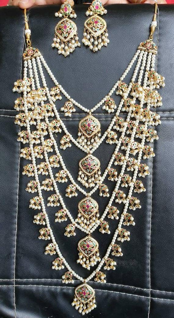 New style choker set with Red big Stones and pearls Pakistani nikah Desi wedding Indian jewellery Punjabi engagement set