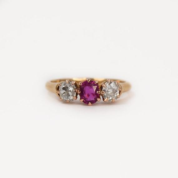 1920's Ruby and Diamond Three Stone Ring