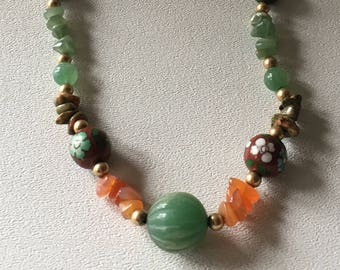 Jade Necklace with Cloisonné, 14KT Gold Beads and Natural Stone Accents