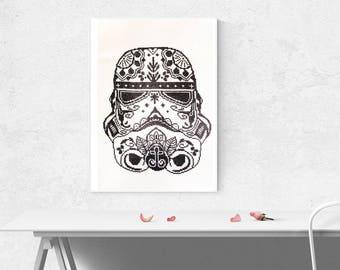 Stormtrooper StarWars Sugar Skull point de croix, point de croix compté, partir d'un patron de la boutique StitchLine