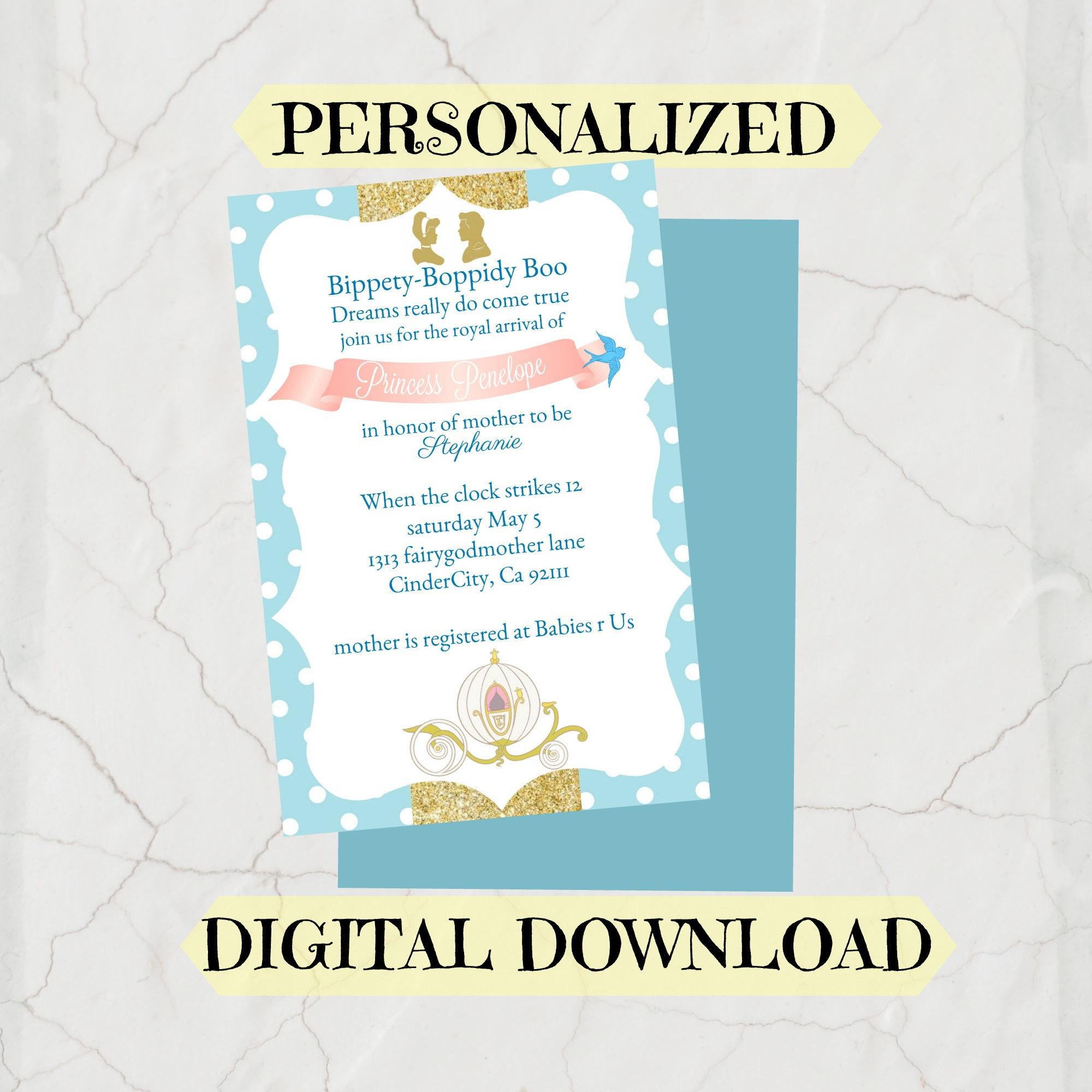 cinderella baby shower invatation birthday party invitation | Etsy