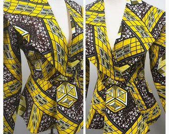 Big Collar Print Jacket and Skirt