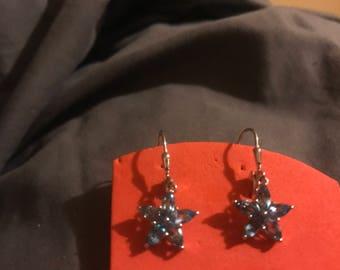 Earrings genuine blue apatite