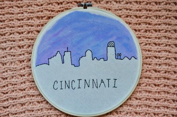 Cincinnati Skyline Hand Painted Hand Embroidery In Hoop