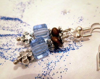 Blue Cube Pendant Earrings