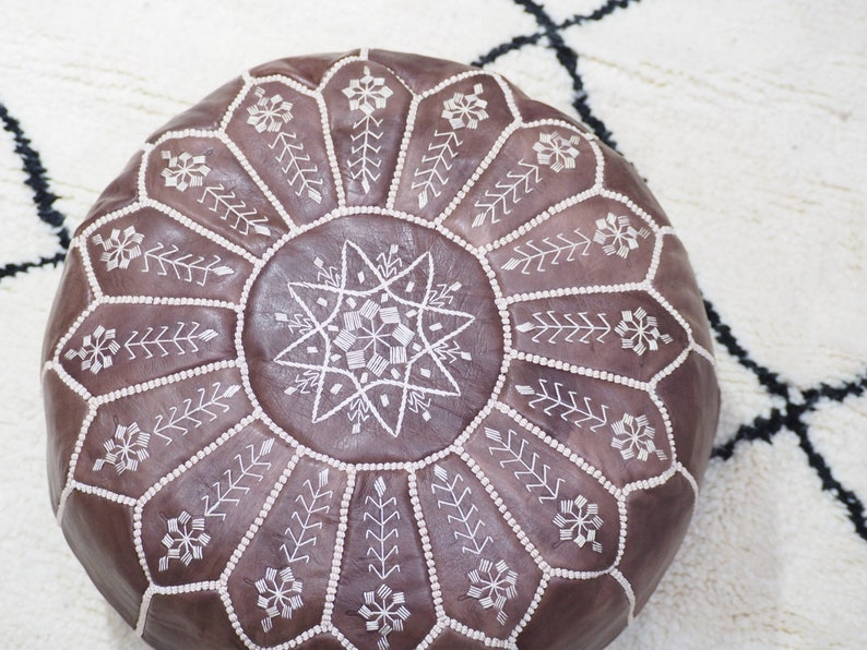 Moroccan brown  POUF* 30/% OFF** with White Stitching Leather Pouf ottoman pouf morrocan brown pouf unstuffed