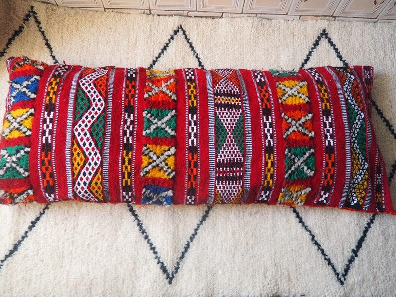 big vintage Moroccan cushion Handmade Berber Kilimvintage pillow  unstuffed 44*25