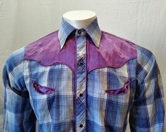 d13eedc2 Karman Blue Purple Long Sleeve Pearl Snap Men's Western Cowboy Shirt Size  Small