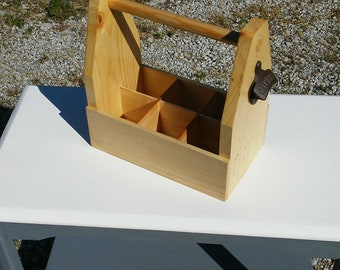 Wooden Beer Tote Handmade Beer Tote Gifts for Him Beer Caddy Six Pack carrier Groomsmen Gifts Beer carrier