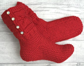 Knitted Slipper Boots - Indoor Knitted Slippers - Knitted Socks - Wool Slippers - Knitted Booties - House Shoes - Indoor shoes - Wool Socks