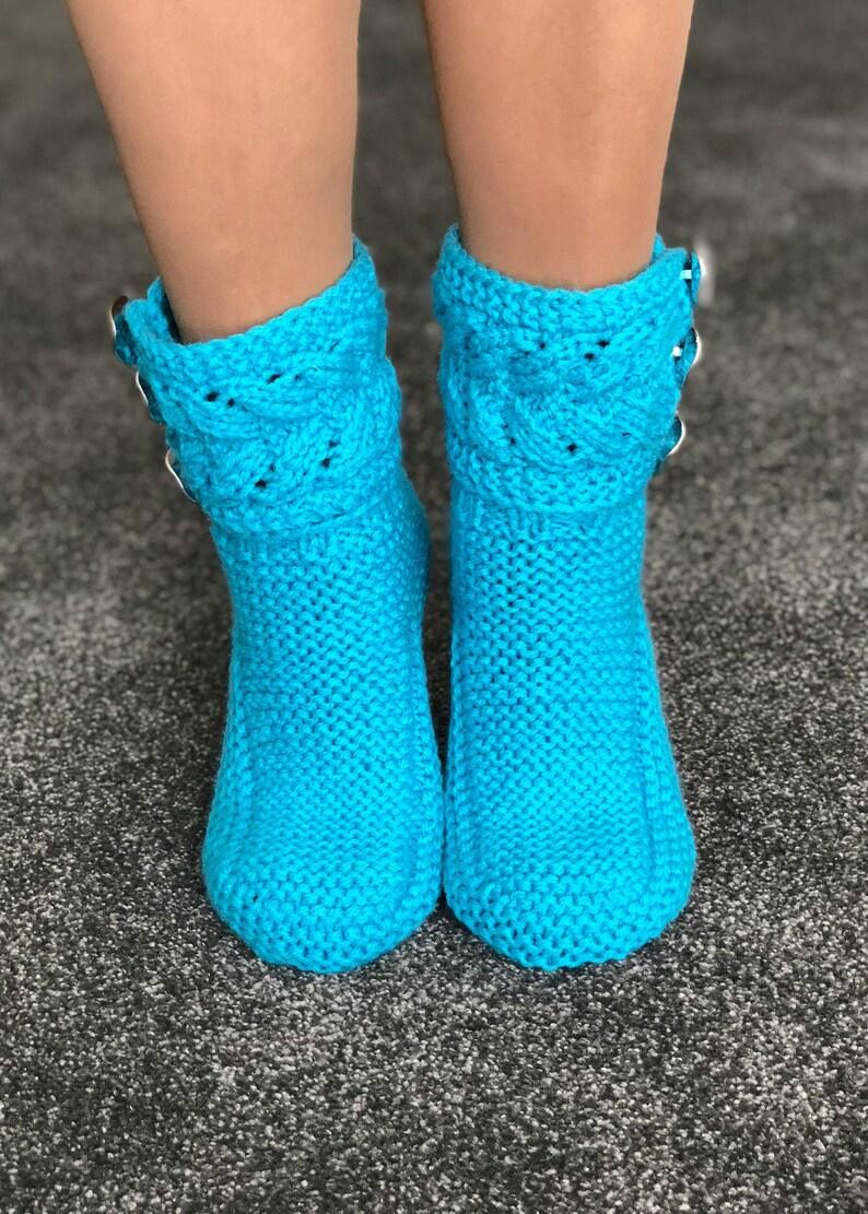 Winter Socks Turquoise Clothing Slipper Socks Turquoise Socks Knitted Socks Gift Her Wool Socks Turquoise Wool Women Socks