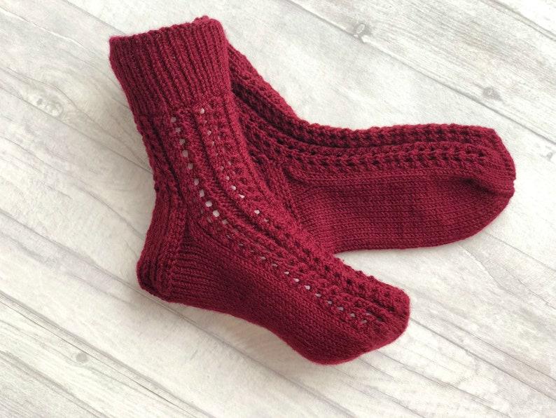 e01dbcffe11b Red Wool Socks Red Socks Dark Red Socks Wine Socks | Etsy