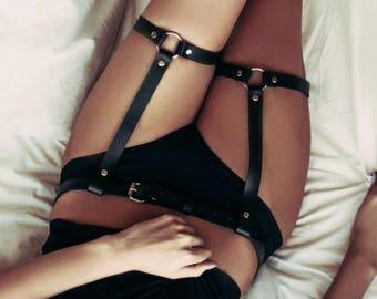 27c4a0775 Garter Belt leather garters Women garter belt Leather leg