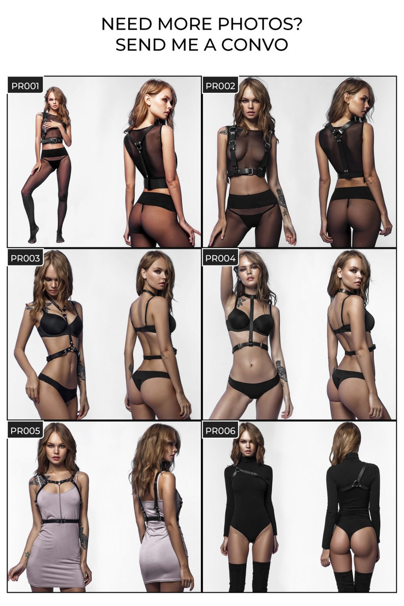 Leather harness Women harness fetish lingerie Luxury harness Mature Rave harness Submissive clothing Choker harness top