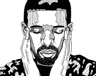 Print, card, illustration - Drake - A6 size - black and white - made by hand