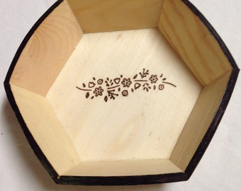 Floral wooden candy ,bowl ,tray