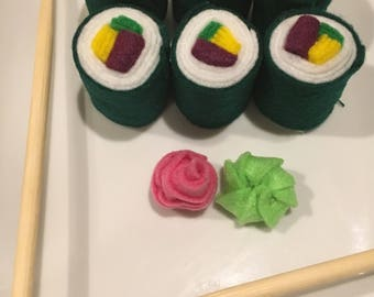 Felt Food - Sushi - California Roll - Wasabi - Ginger - Felt Sushi