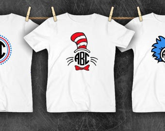 251eefa50e0 Read Across America Day Monogram Dr. Seuss Inspired Cat in the Hat Thing  Initials March 2nd Youth Kid Child Tee Shirt