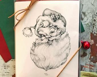 Holiday Card Set (8), Greeting Card, Hand Drawn, Christmas Card