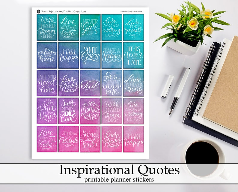 Bright Watercolor Inspirational Quotes Printable Planner Stickers,  Motivational Quote Digital Instant Download Planner Stickers
