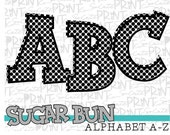 Black polka dot alphabet, SugarBuns printable font, alpha pack, PNG file for sublimation, create your own words, Sublimation design