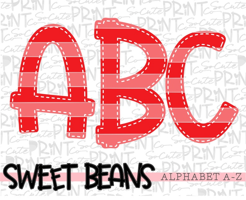 red alphabet create your own words alpha pack Red striped alphabet Sweet Beans printable font PNG file for sublimation