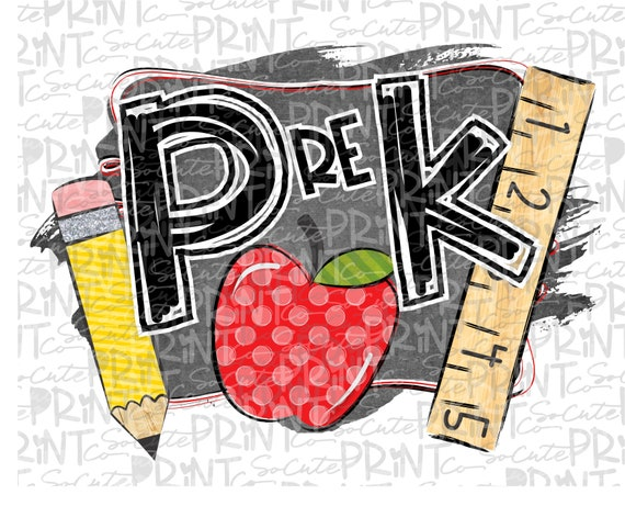 Back to school Pre-K chalkboard pencil clipart PNG file for | Etsy