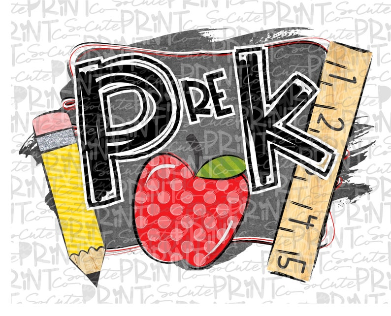 Back to school Pre-K chalkboard pencil clipart PNG file for image 0