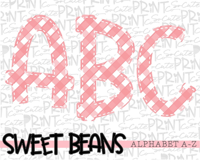 PNG file for sublimation alpha pack Sweet Beans printable font Coral gingham alphabet create your own words coral alphabet