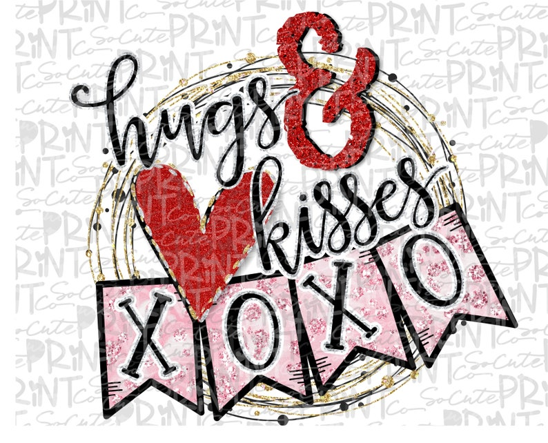 Valentines Day Xoxo Hugs Kisses Clipart Valentine Png File Etsy