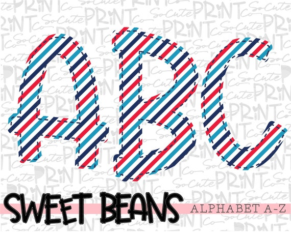 striped alphabet Alphabet Sweet Beans printable font create your own words EB001 alpha pack PNG file for sublimation