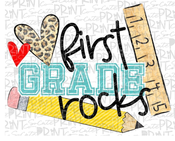 Back to school First grade rocks clipart PNG file for | Etsy
