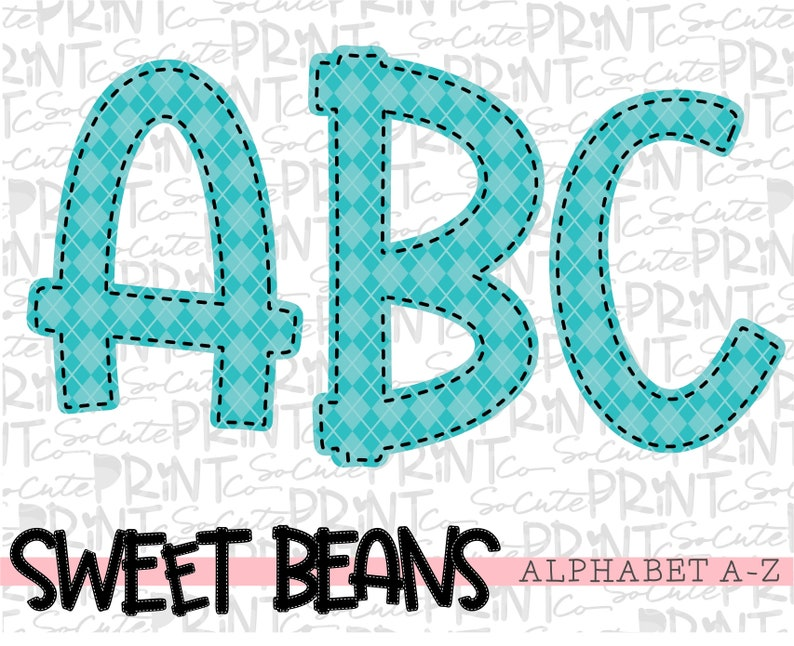 alpha pack Teal alphabet Sweet Beans printable font create your own words PNG file for sublimation teal argyle alphabet