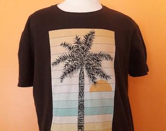 Vintage Palm Tree T-Shirt Threadless Mens XL, Brown