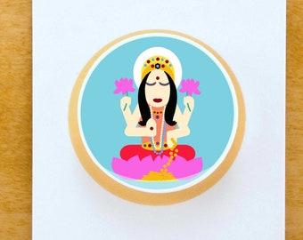 lakshmi    artist designed buttons   yogagaga - yoga designs for yoga nerds