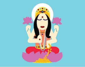 yoga postcard   Lakshmi   yogagaga - yoga designs for yoga nerds