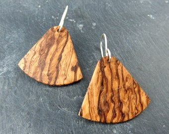 Wooden earrings, african zebra wood, silver hook, light wood earrings, striped earrings, zebra pattern, ethnic earrings, natural wood