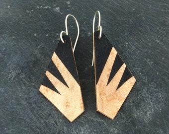 Wood marquetry earrings, lightweight and ecofriendly jewelry