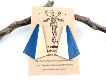 Lightweight blue and white wooden earrings with a silver hook, geometric wood art handmade in France