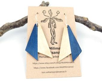 Geometric wooden earrings & silver hook, blue natural wood earrings, handmade jewelry