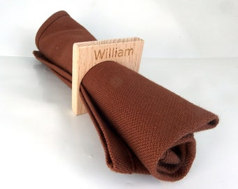 Personalized wooden towel rings and organic cotton towels