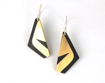 Black and gold wood marquetry earrings with brass inlay