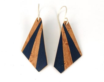 Navy blue wood marquetry earrings, lightweight ecological gift