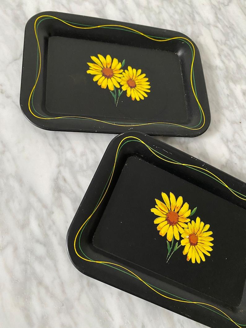 Set of 2 Vintage Mini Painted Trays