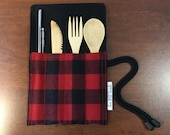 Zero Waste Eco-friendly Utensil Wrap - Lumber Jack Utensil Wrap No more waste Recycle Replace fast food utensils No more landfill Bamboo