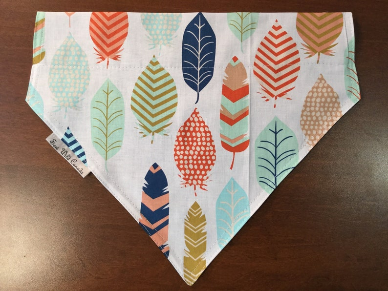 Fashion Feathers Pet Bandanas Dog Collar Fits over the Collar Pet Accessories Hand made Canadian Doggie in Style Local Dog Bandana