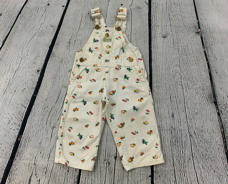 Cuecumber by Mark 1970s Vintage Kids Toddler Multi Color Fruit Print Colorful Canvas Sleeveless Overall Coveralls Size 2T