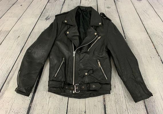1980s Vintage Men's Black Leather Belted Snap Butt